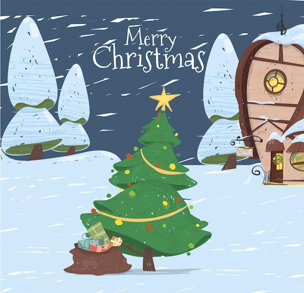 Feliz natal cartão casa papai noel