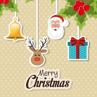 Feliz natal cartão colorido