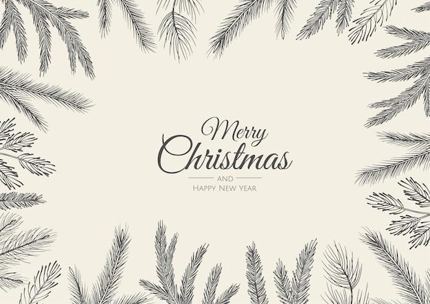 Feliz natal cartão com árvore de ano novo.