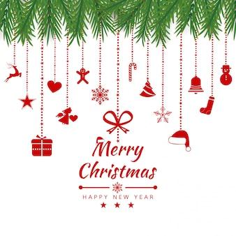 Feliz natal cartão com banner de ícones do elemento. fundo de inverno ilustração vetorial