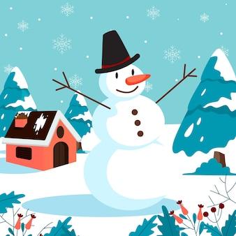 Feliz natal cartão com boneco de neve
