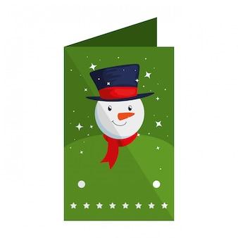 Feliz natal, cartão, com, boneco neve