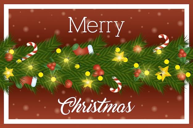 Feliz natal cartão com coroa de folhas e luzes