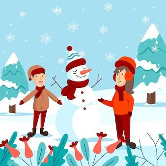 Feliz natal cartão com crianças fazendo boneco de neve e texto