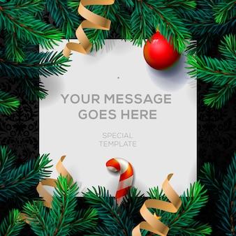 Feliz natal cartão com decoração de natal galhos de pinheiro e confetes,