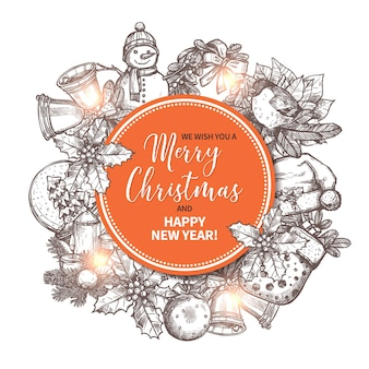 Feliz natal cartão com elemento desenhado de mão festivo e feriado no fundo.