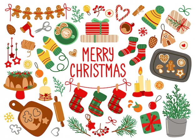 Feliz natal cartão com elementos decorativos de natal