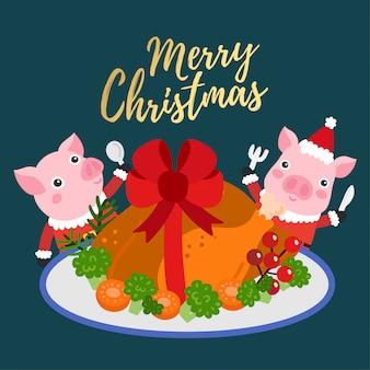 Feliz natal cartão com frango assado inteiro.