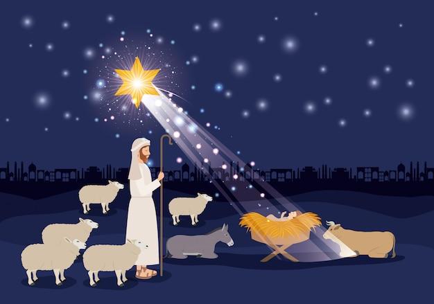 Feliz natal cartão com jesus bebê e sheeper