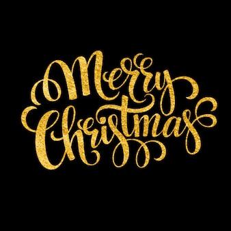 Feliz natal cartão com letras brilhantes ouro