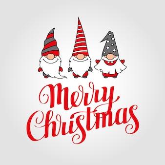 Feliz natal cartão com letras e gnomos fofos