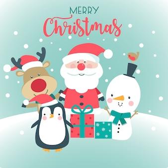 Feliz natal cartão com papai noel, boneco de neve, veado e pinguim.