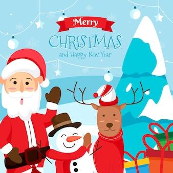 Feliz natal cartão com papai noel, querida e boneco de neve