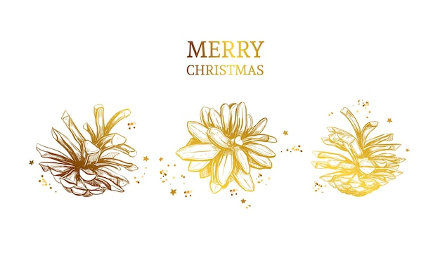 Feliz natal cartão com pinhas mão ilustrações desenhadas.