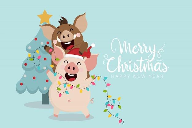 Feliz natal cartão com porquinho fofo e javali.