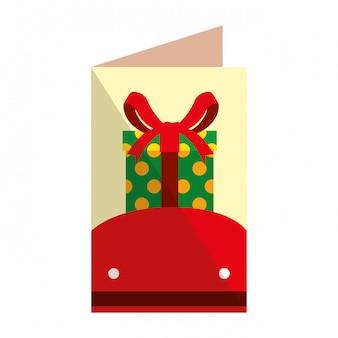 Feliz natal, cartão, com, presente