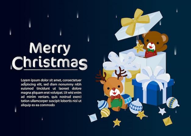 Feliz natal cartão com renas bonitinha e urso na caixa de presente.