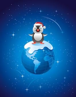 Feliz natal cartão com terra e pinguim bonitinho no chapéu de papai noel.