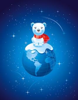 Feliz natal cartão com terra e urso polar.