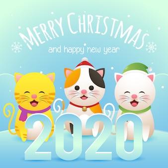Feliz natal cartão com três gato bonito