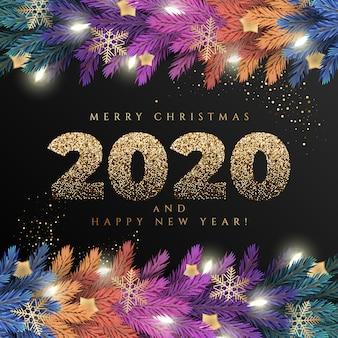 Feliz natal cartão com uma guirlanda colorida realista de galhos de árvores de pinheiro