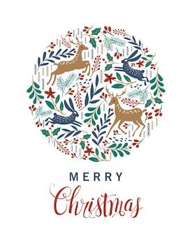 Feliz natal. cartão com veado de natal.