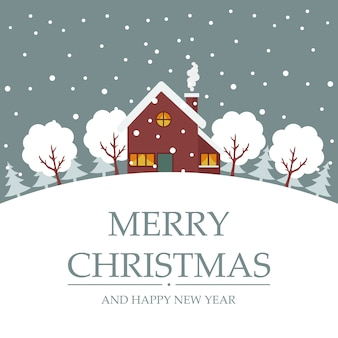 Feliz natal cartão de árvores e casa na neve