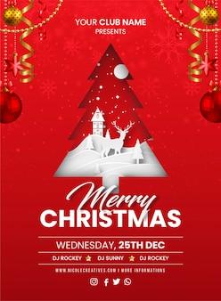 Feliz natal cartão de convite de festa vermelha, cartaz ou folheto modelo