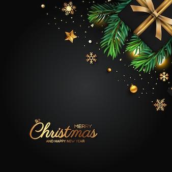 Feliz natal cartão de decoração preto e dourado