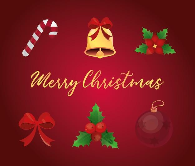 Feliz natal, cartão de felicitações de ouro sino doce flor arco bola ícones conjunto ilustração detalhada