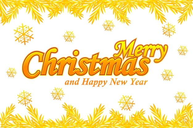 Feliz natal, cartão de felicitações. logotipo dourado do vetor, neve e árvore de natal em fundo branco.