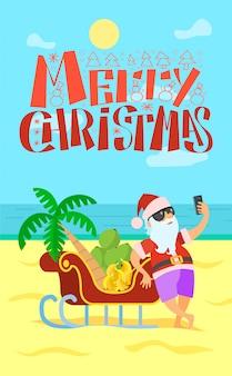 Feliz natal cartão de felicitações, papai noel, trenó bananas uva