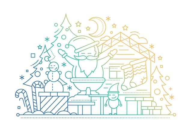 Feliz natal - cartão de linha