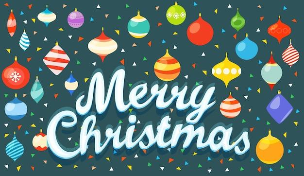 Feliz natal. cartão de natal com enfeites coloridos