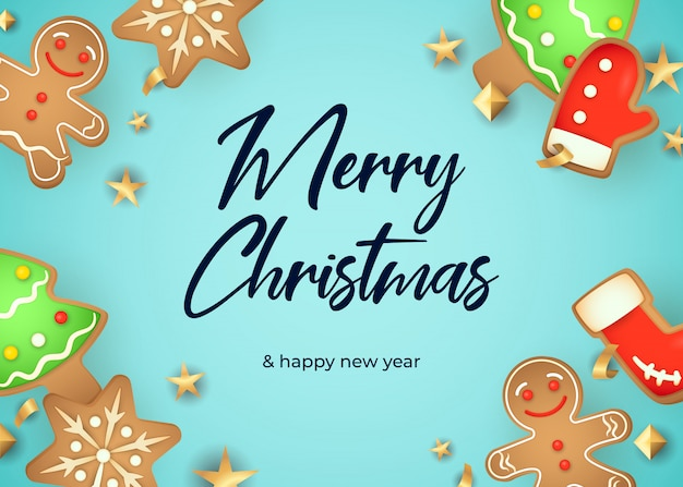 Feliz natal cartão design com pão de gengibre