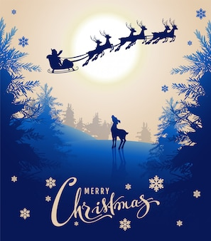 Feliz natal cartão design texto. veado jovem olha para silhueta santa trenó de renas no céu noturno. floresta de fadas do inverno