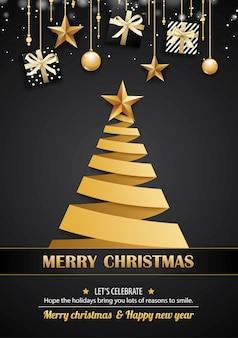 Feliz natal cartão e convites para festas em preto