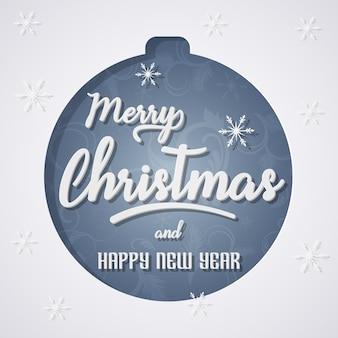 Feliz natal cartão em estilo de arte e artesanato de papel.