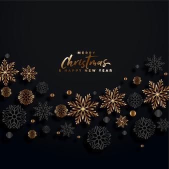 Feliz natal cartão festival preto e dourado