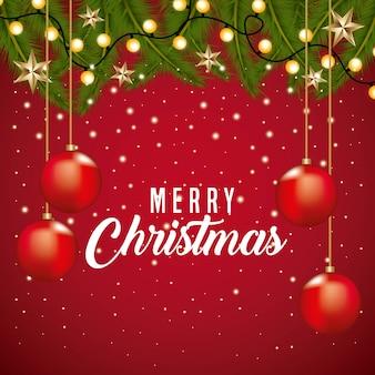 Feliz natal, cartão, fronteira, decoração, ramo, árvore, luz, bolas