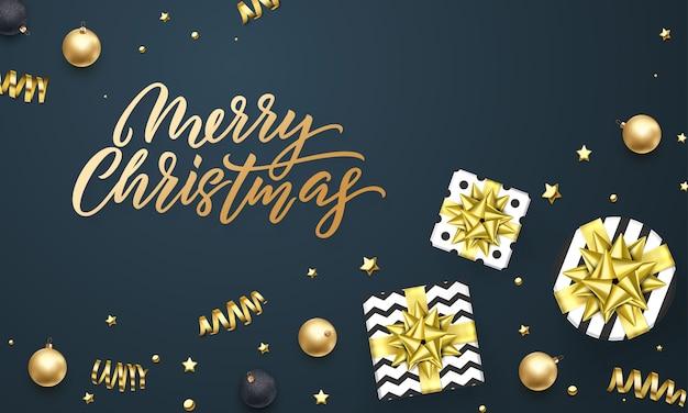 Feliz natal cartão modelo de plano de fundo de presente dourado fita ou ouro brilhante estrelas confetes em preto premium.