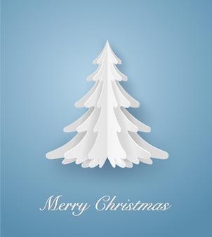Feliz natal cartão na árvore de natal branco sobre fundo azul