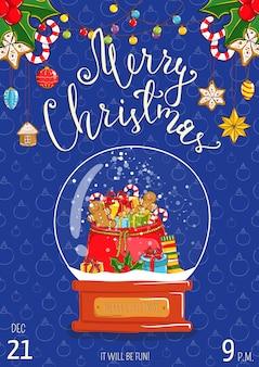 Feliz natal cartão ou convite para anúncio de festa natalícia