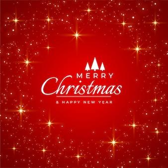 Feliz natal cartão vermelho com brilhos