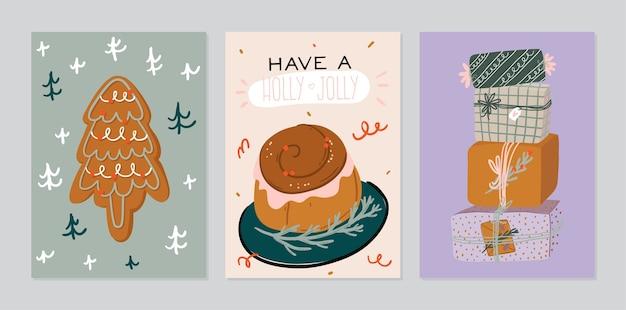 Feliz natal cartões com letras de férias e elemento tradicional de inverno.