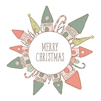 Feliz natal, casa, ilustração