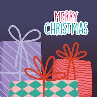 Feliz natal celebração decoração presentes cartão