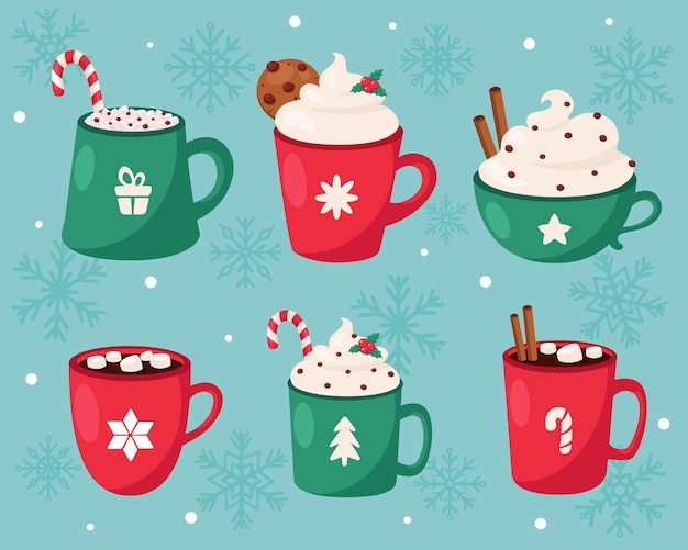 Feliz natal. coleção de bebidas quentes de natal.