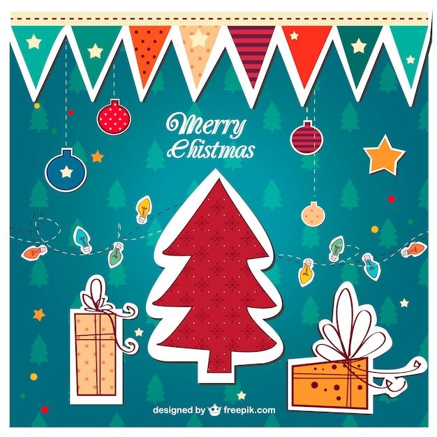 Feliz natal colorido do vintage vector