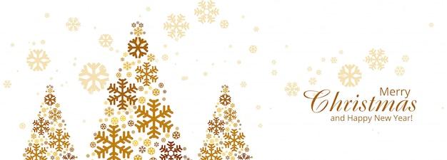 Feliz natal colorido floco de neve árvore cartão banner